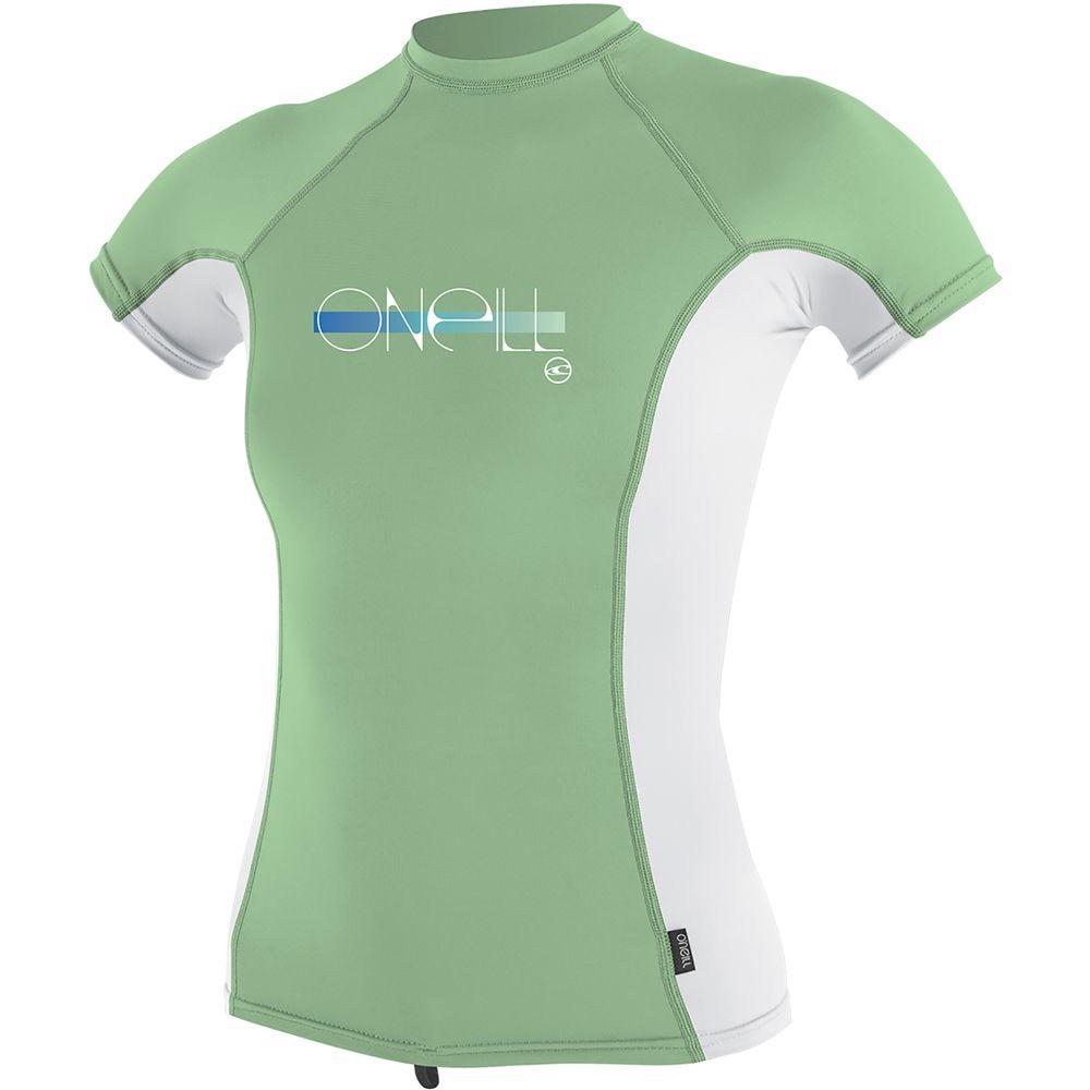 O'Neill Skins S/S Rash Crew, Mint/White