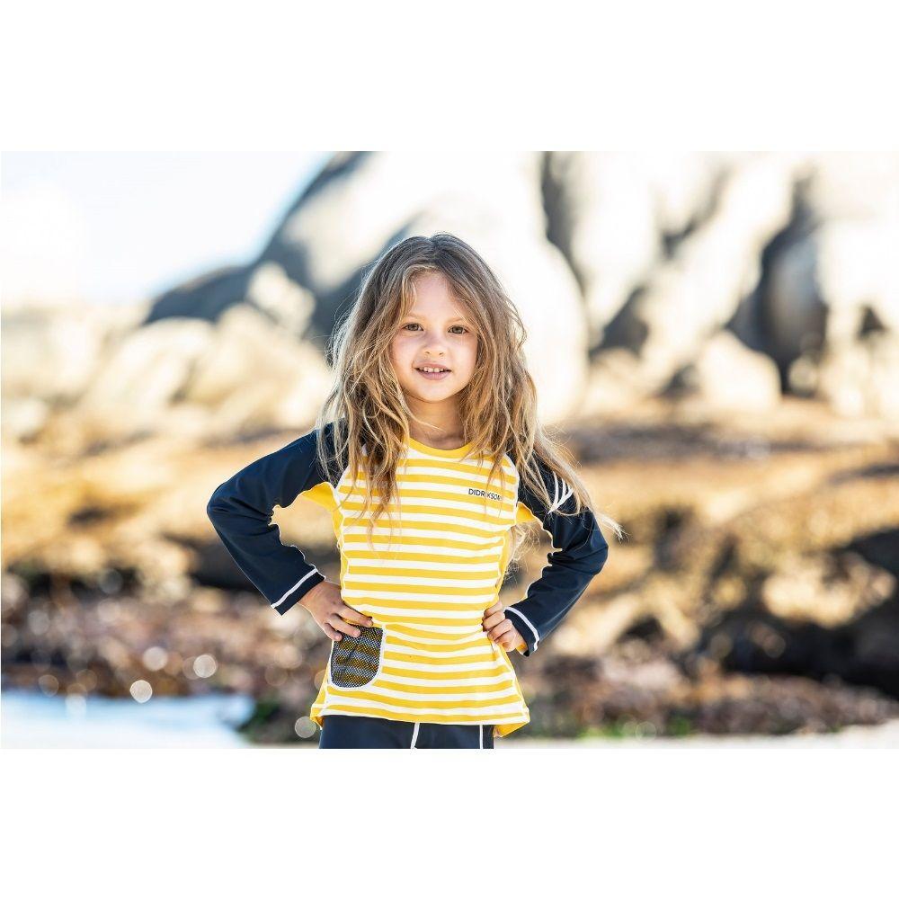 Didriksons Surf Kids LS UV Top2 Yellow Simple Stripe