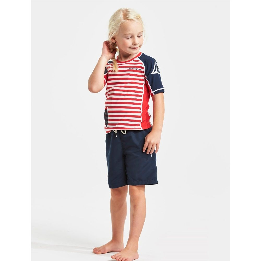 Didriksons Surf Kids SS UV Top Chili Red Simple Stripe