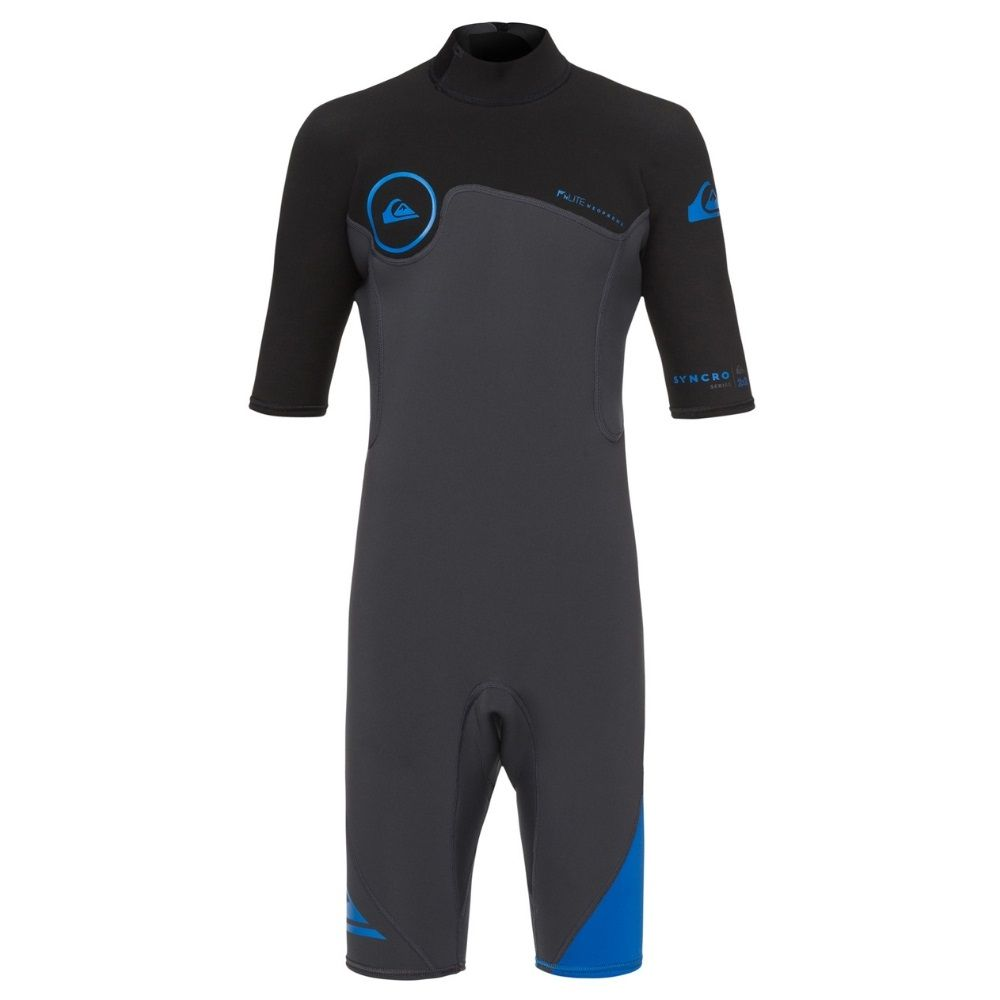 Quiksilver 2/2 Syncro Series Boys Shortie Wetsuit, Graphite/Black