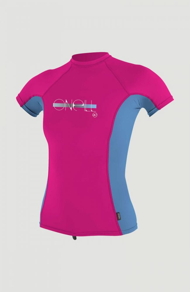 O'Neill Girls Premium Skins UV S/S Rash Guard - Berry/Periwinkle/Berry