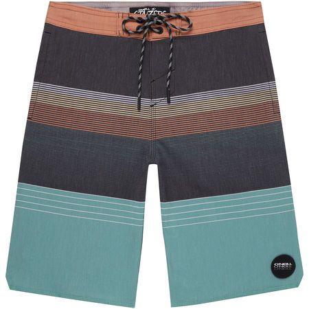 O'Neill Boys Stripe Club Cruzer Boardshorts, Black AOP Green