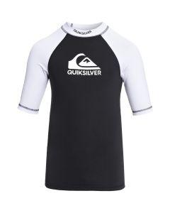 Quiksilver On Tour Boy SS Rash Tee - Black & White
