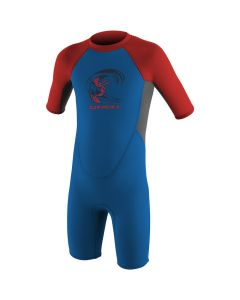 O'Neill Reactor Spring Boys Wetsuit, Bright Blue/Cool Grey/Neon Red