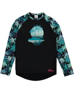 O'Neill Skins L/S Horizon Palm UV Protection Girls Rash Tee, Black - save 50%