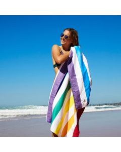 Dock & Bay Microfibre Beach Towel - Rainbow Stripe