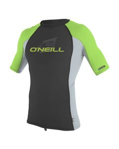O'Neill Youth Premium Skins S/S Rash Guard - Black/Cool Grey/Dayglo