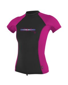 O'Neill Girls Premium Skins S/S Rash Guard - Black/Berry/Berry