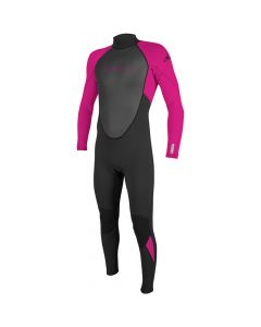 O'Neill Reactor II Girls Full 3/2mm Wetsuit, Black/Berry 13/14 Only - SAVE 20%