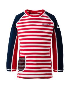 Didriksons Surf Kids LS UV Top2 Chili Red Simple Stripe