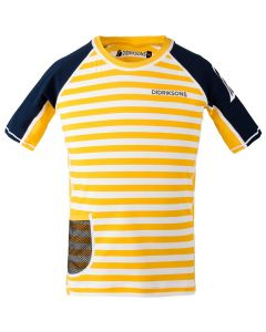 Didriksons Surf Kids SS UV Top Yellow Simple Stripe