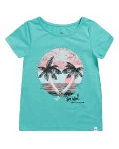 Animal Girls Turquoise Sunset Sea Graphic Tee - Green MarlCL9SQ828-X52