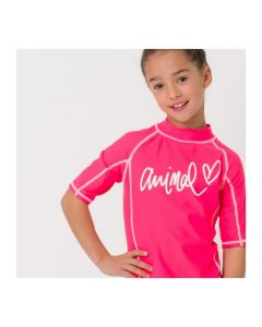 Animal Molli S/Sleeve Girls UV Rash Tee, Psycho Red