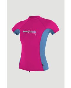 O'Neill Girls Premium Skins UV S/S Rash Guard - Berry/Periwinkle/Berry