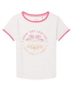 O'Neill Girl's Palm Trees Short Sleeve T-Shirt - White Melee9A7370