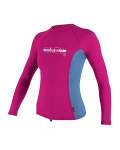 O'Neill Girls Premium Skins L/S Rash Vest - Berry/Periwinkle