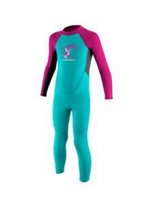 O'Neill Toddler Reactor Girls 2mm Full Wetsuit - Light Aqua/Graphite/Berry
