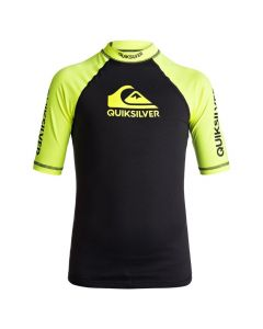 Quiksilver On Tour Boy SS Rash Tee - Black & Yellow
